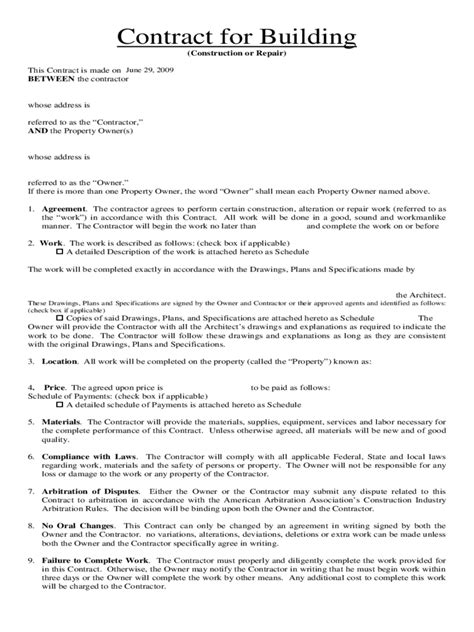 home improvement contract template   templates