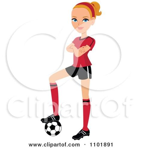 clipart blond female soccer player   poses