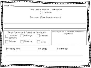 nonfiction text features worksheet by marcella biordi tpt