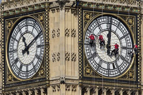 Cleaning Of Big Ben's Clock Face