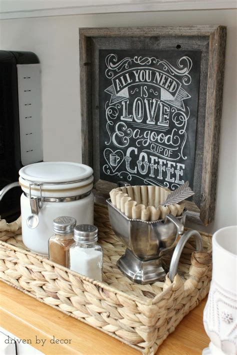 Check out our coffee kitchen decoration selection for the very best in unique or custom, handmade pieces from our kitchen décor shops. Organizing the Kitchen: Our New Coffee Station | Driven by Decor