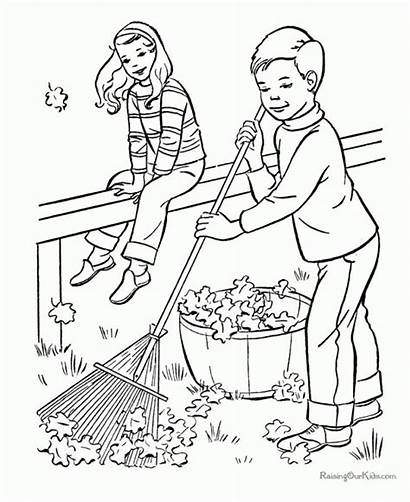 Coloring Cleaning Pages Colouring Boy Park