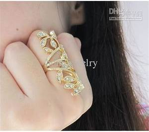 hot sale gold rings long blingbling flowers rhinestones With long wedding rings