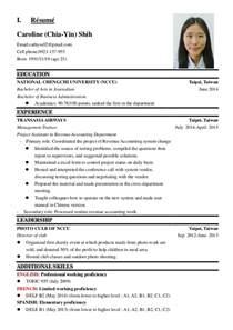 editor profile resume resume in and caroline shih sans