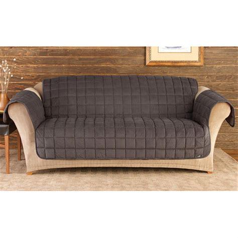 Sure Fit Deluxe Velvet Minicheck Sofa Pet Cover, Black
