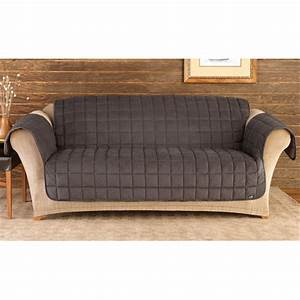 Sure fit deluxe velvet mini check sofa pet cover black for Sure fit deluxe pet furniture covers