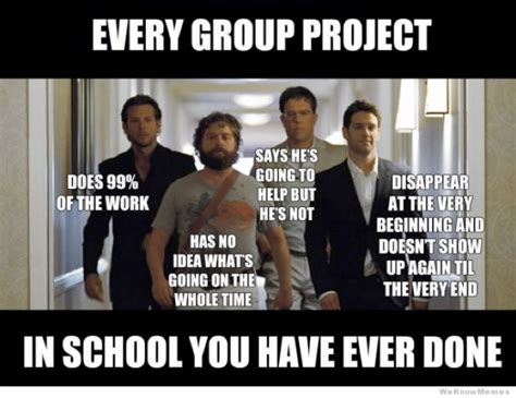 Group Photo Meme - every group project you have ever done hangover meme lifepractice learning