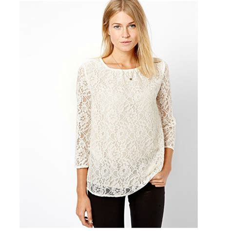 blouse cuisine femme 2016 white high quality lace sleeve lace