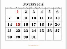 Free Download Printable January 2018 Calendar, large font