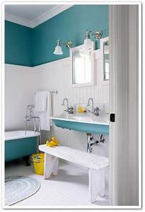 Turquoise, Paint, Unifies, This, Charming, Farmhouse, Bathroom