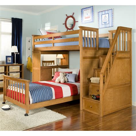 bed and desk set light brown wooden bunk bed with drawers on the stairs