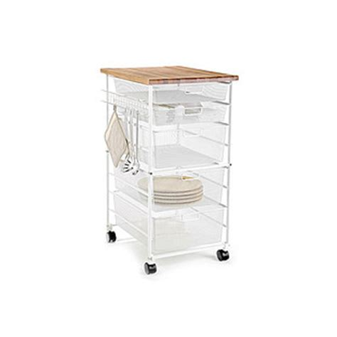 kitchen storage cart with drawers white elfa mesh kitchen cart the container 8615