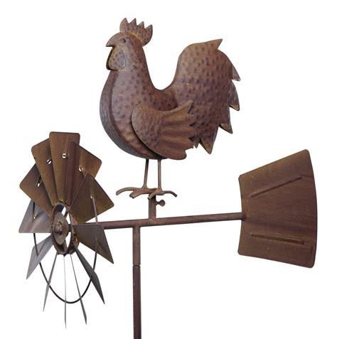 deko tiere metall windspiel windrad hahn vogel artferro metall