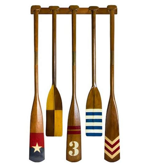 complete set of 5 royal barge oars with rack decorative