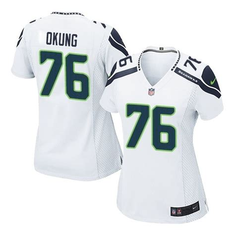 Women Russell Okung Elite White Jersey