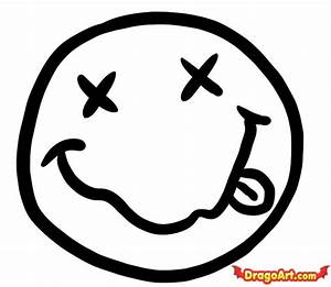 How to Draw Nirvana Smiley Face, Step by Step, Band Logos ...