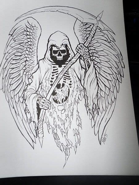 Grim Reaper Original Ink Drawing Products Tattoo