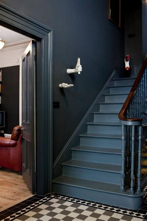 dark gray walls paint   stair walls victorian