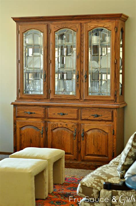 oak china cabinets for miss mustard seed milk paint china cabinet makeover