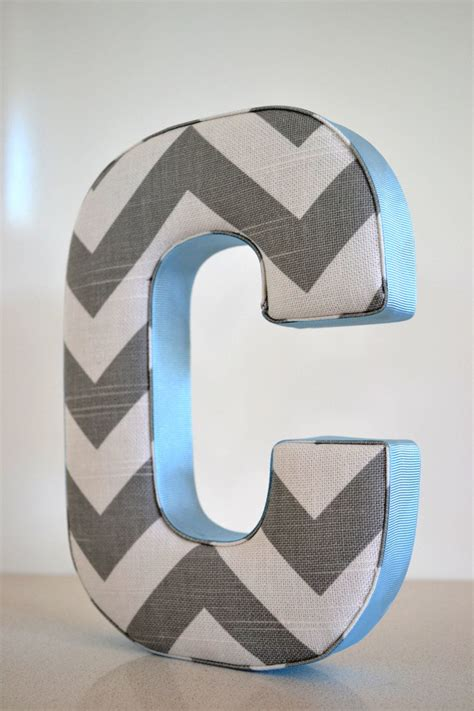 fabric letter personalised initial  wall hanging  chevron grey blue letter