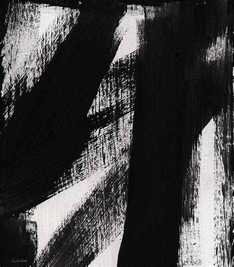 Abstract Painting Black And White by Timber Vertical Abstract Black And White Painting