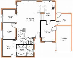 plan maison tage avec 5 chambres ooreka de a etage With plan de maison a etage 5 chambres