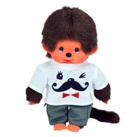 peluche kiki monchhichi cm garcon tenue tshirt moustache