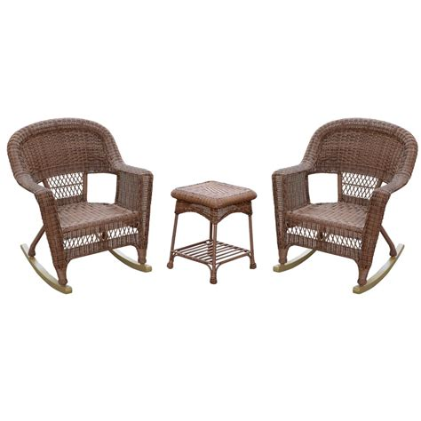 3pc santa white rocker wicker chair set