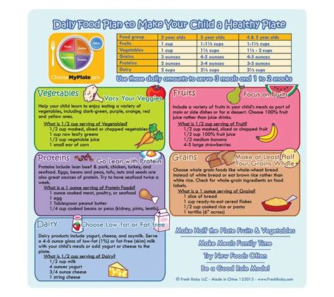 myplate daily food plan fresh baby