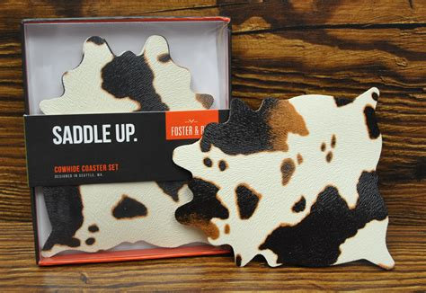 Cowhide Coasters by Cowhide Coaster Set William S Cheese