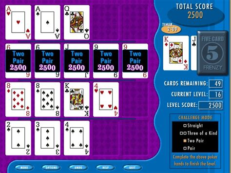Five Card Frenzy Games Cards  Free Software Download