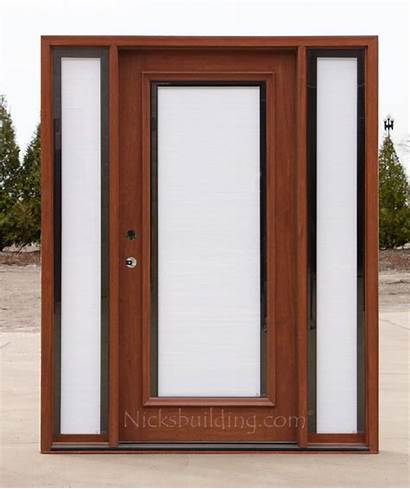 Exterior Doors Entry Glass Sidelights Between Shades