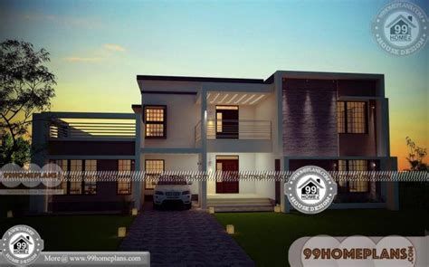 rectangular plot house plan double floored modern box type designs house plans bungalow