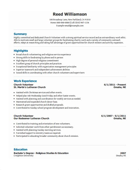 Volunteer Resumes Templates by Volunteer Resume Template 7 Free Word Pdf Document