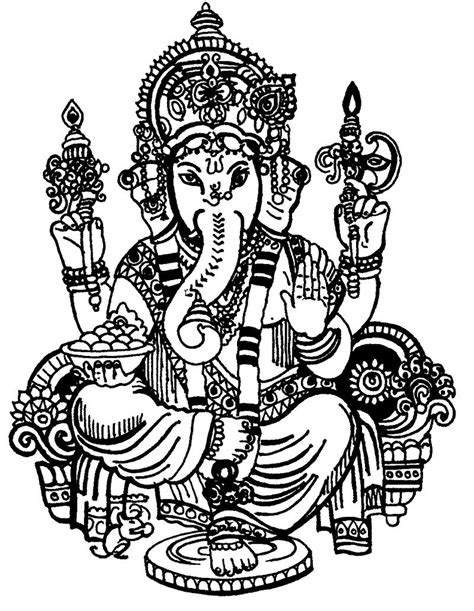 Ganesha coloring pages to download and print for free | Ganesha drawing, Ganesha, Ganesh images