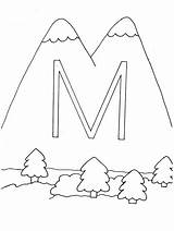 Coloring Mountain Mountains Pages Sheet sketch template