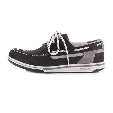 Triton Deck Boats by Mens Sebago Triton Three Eye Black Leather Deck Boat Shoes
