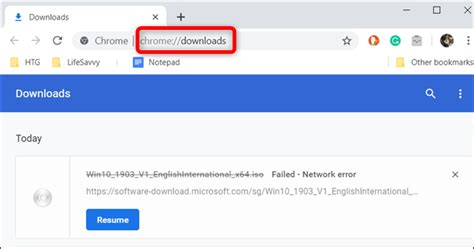 how to resume an interrupted download in google chrome