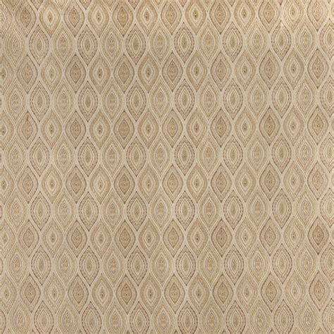 Ivory Small Scale Pointed Oval, Brocade Upholstery Fabric