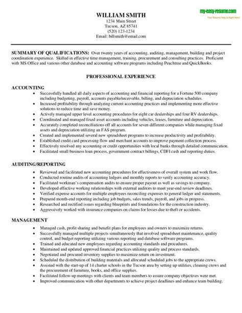 resume exles for accountants accounting resume sle