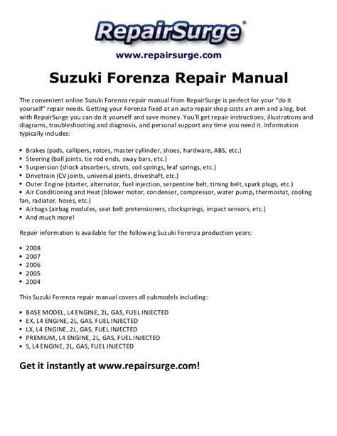 free online auto service manuals 2006 suzuki forenza security system suzuki forenza repair manual 2004 2008