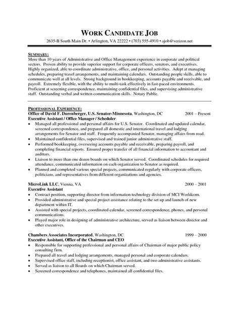 Ea Resume Objectives by Executive Assistant Resume Exle 2016 Sle Resumes