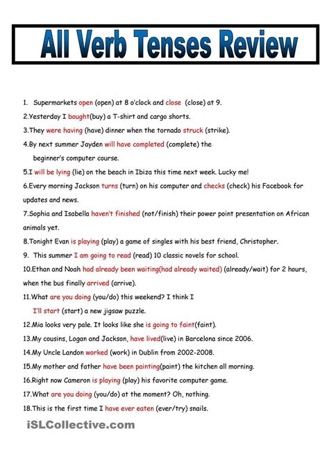 all verb tenses fill in review 2 pages teaching verb