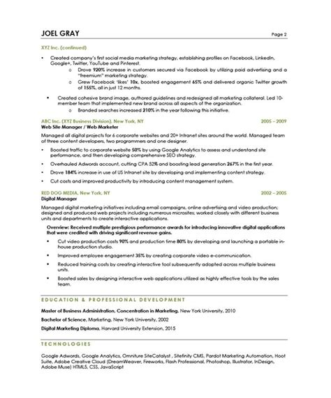 Blue Sky Resumes by Digital Marketing Manager Free Resume Sles Blue Sky
