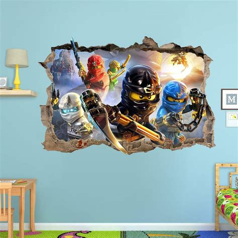 Lego Bedroom Wall Decals by Lego Ninjago Smashed Wall Sticker 3d Bedroom Removable