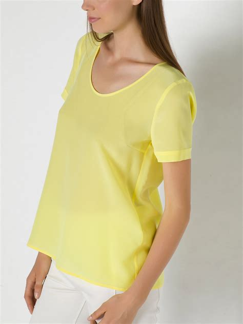 light yellow blouse patrizia pepe silk blouse with sleeves in yellow