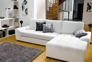 Canape Cuir Blanc Angle : photos canap d 39 angle convertible cuir blanc ~ Teatrodelosmanantiales.com Idées de Décoration