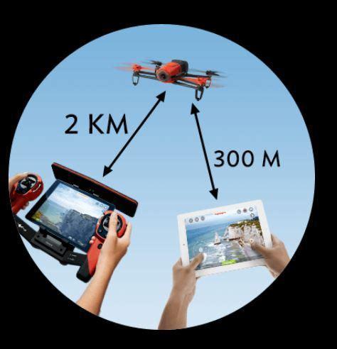bebop drone  skycontroller command fpv km range