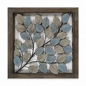leaves metal wall art in blue cream bed bath beyond With best brand of paint for kitchen cabinets with abstract metal wall art panels