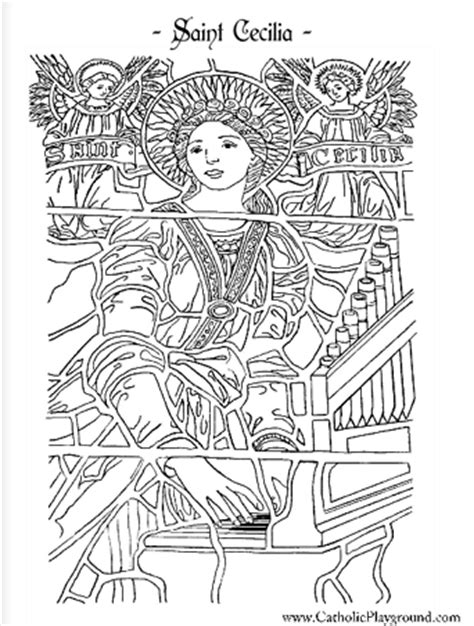 cecilia coloring page november 22nd 393 | saint cecilia